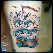 татуировки корабль в стиле олдскул цветная плечо каталог тату
