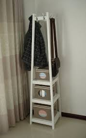 Coat Rack And Storage Simple Free Postage Wooden Coat Rack Stand With Storage ShelvesWhiteHC