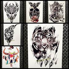 3d Nero Re Tigre Impermeabile Tatuaggio Adesivi Falsi Flash Corpo