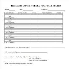 Football Score Sheet Template Free Sample Example Format
