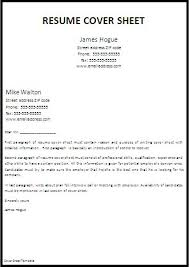 Resume Cover Sheet Template Jmckell Com