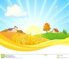 Sunrise Landscape And Design Autumn Sunrise Landscape Design Stock Vector Illustration