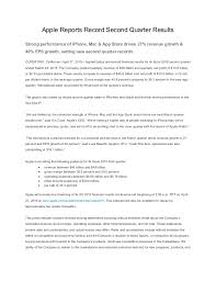 Apple Q2 2015 Earnings Report Press Release April 27 2015
