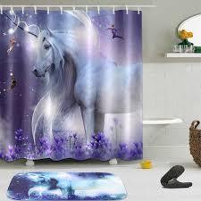 unicorn fairy bathroom waterproof fabric shower curtain 12 hooks bath mat