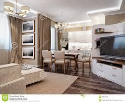 Modernes Wohnzimmer Küche Und Esszimmer Stock Abbildung