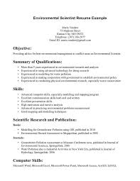 Excel Resume Examples Environmental Scientist Resume Free Excel Templates