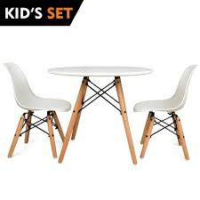 urbanmod kids mid century style modern white table set round table with two 2