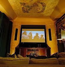 media room furniture ideas. Ceiling Painting And Dark Theater Curtains Media Room Furniture Ideas