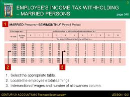 Employee Tax Withholding Chart Century 21 Accounting Thomson South Western Lesson 12 2