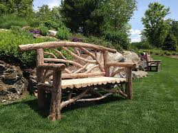 log rustic outdoor bench