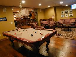 Decorations:Small Basement Idea With Billiard Table And Wooden Floor  Inspiration For Decorating Basement Room