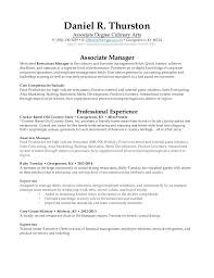 Restaurant Resume Cool Associates Degree On Resume R Associate Degree Culinary Arts P