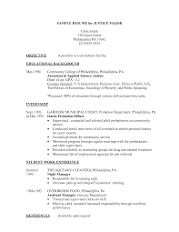Criminal Justice Resume Objective Examples Cia3india