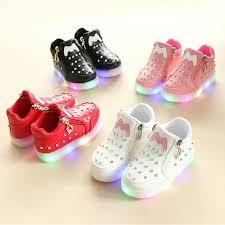 Casual Bright <b>Children'S</b> Shoes Rhinestone <b>Led</b> Luminous <b>Soft</b> ...