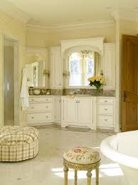 Bathroom:Dim Lighting Of French Country Bathroom With Freestanding Vanity  And Travertine Floor French Country