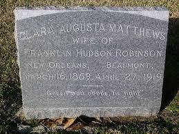 Clara Augusta Matthews Robinson (1858-1919) - Find A Grave Memorial