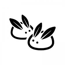 雪うさぎのシルエット02 無料のaipng白黒シルエットイラスト