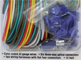 trailer wiring connection kit four pole 22 guage wire connectors How To Splice Trailer Wiring Harness four pole trailer wiring connection kit model 96658 color coated 22 gauge wires, 6 three way splice connectors, 2 wiring harnesses with flat four how to splice trailer wiring harness