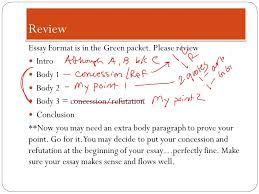 h concession and refutation goal to compose body paragraphs review essay format is in the green packet