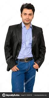 indian male model in black coat stock photo