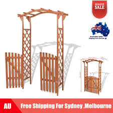 solid wood garden arch with gate 120 x 60 x 205 cm entryway arbour d6o5