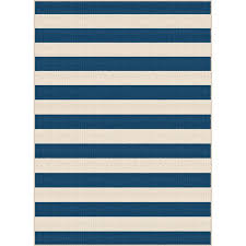 gct1006 8x10 8 x 10 large navy blue stripe indoor outdoor rug garden city