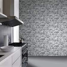 Grey Brick Wallpaper Kitchen