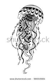 zendoodle stylized jellyfish for t shirt design tattoo and coloring book page