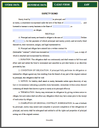 surety bond form sample surety bond forms pinterest