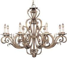 hand wrought iron chandelier in antiqued gold metal and silver metal leaf