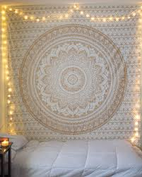 small golden color fl trippy ombre medallion mandala wall tapestry royalfurnish com