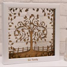 wooden layered family tree in natural oak