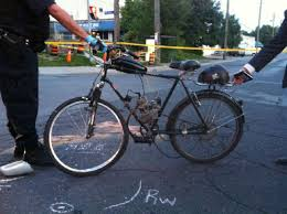 police are still trying to identify the driver of a gas powered bicycle who d
