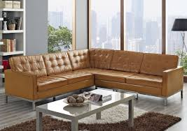 Tan Leather Sectional O92