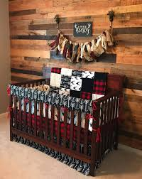 baby boy crib bedding buck deer black arrows lodge red black buffalo check and black crib bedding ensemble