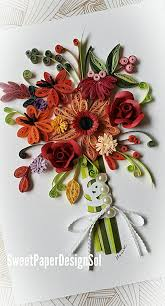 Paper Quilling Flower Bokeh Paper Quilling Art Red Flower Bouquet Card Wedding Anniversary Congratulations Birthday Card Any Occasion