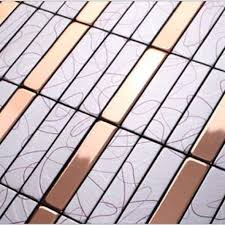 metallic mosaic tile aluminum panel wall stickers strip metal backsplash kitchen tiles floor design