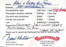 Customer testimonials - Overhead Door Company of Houston