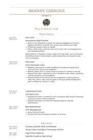 Prep Cook Resume samples
