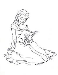 belle with book drawing