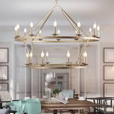 2 tier gold round industrial chandelier ceiling light
