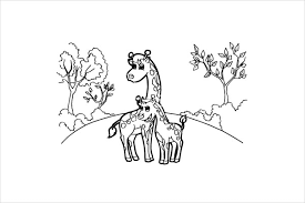 Small Picture 9 Giraffe Coloring Pages Free PSD PDF JPG Format Download