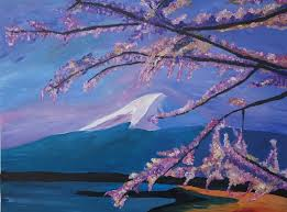 saatchi art artist m bleichner painting marvellous mount fuji with cherry blossom in