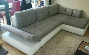 Sofa Couch Wohnlandschaft Bettsofa Grau Weiß