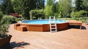 above ground pool with deck and hot tub. Can You Put An Above Ground Hot Tub In The Round Designs Pool With Deck And R