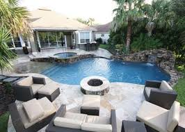 Patio with pool Concrete Patio With Stone Builtin Fire Pit Next To Pool Pools By John Clarkson Pinterest Outdoor Fireplace And Fire Pit Design Ideas Backyard Backyard