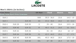 Lacoste Golf Mens Shirts Size Chart Lacoste Men Lacoste