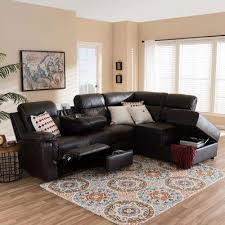 Image Navy Blue Roland 2piece Contemporary Brown Faux Leather Upholstered Right Facing Chase Sectional Sofa Home Depot Faux Leather Sectionals Living Room Furniture The Home Depot