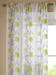 sasha lime green fl slot top voile embroidered curtain panels curtains uk
