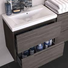 urban compact 500mm wall hung vanity unit grey